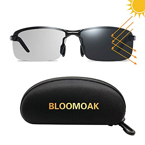 Bloomoak Sonnenbrille fahren | nachtbrille zum autofahren | Blendschutz Sonnenbrille fahren | HD Halbrand | Polarisiert | Ultra Light Metall | sonnenbrille damen Männer (Grau)