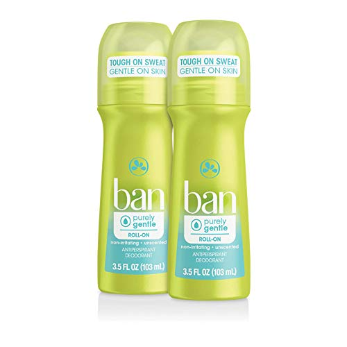 Ban Roll-On Antiperspirant Deodorant, Purely Gentle, 3.5 Ounce, for Sensitive Skin, Unscented, No White Residue, Non-Irritating, 24 Hour Odor and Wetness Protection (Pack of 2)
