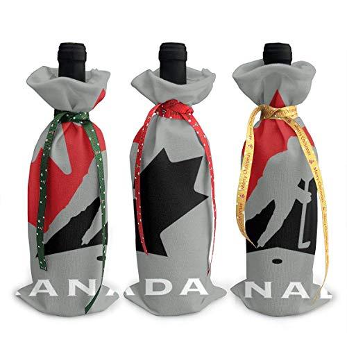 3 x Weihnachts-Weinflaschenabdeckungen, Kanada-Ahorn-Hockey-Dekoration, wiederverwendbare Weinflaschen-Geschenktüten für Dinner-Party, Tischdekorationen