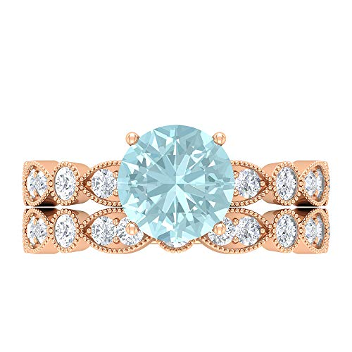 Juego de anillos de novia de 3 quilates con topacio azul cielo y moissanitas (8 mm, forma redonda, topacio azul cielo), 14K Oro rosa, Size:EU 54