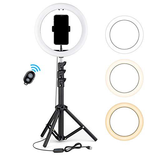 OJelay 10 Zoll LED Selfie Ringlicht(Schwarz) mit 9 cm Stativ & Handyhalter, 120 pcs LED-Perlen mit 3 Beleuchtungsmodi für Live-Stream/YouTube/TikTok/Make-up, mit meisten Smartphones