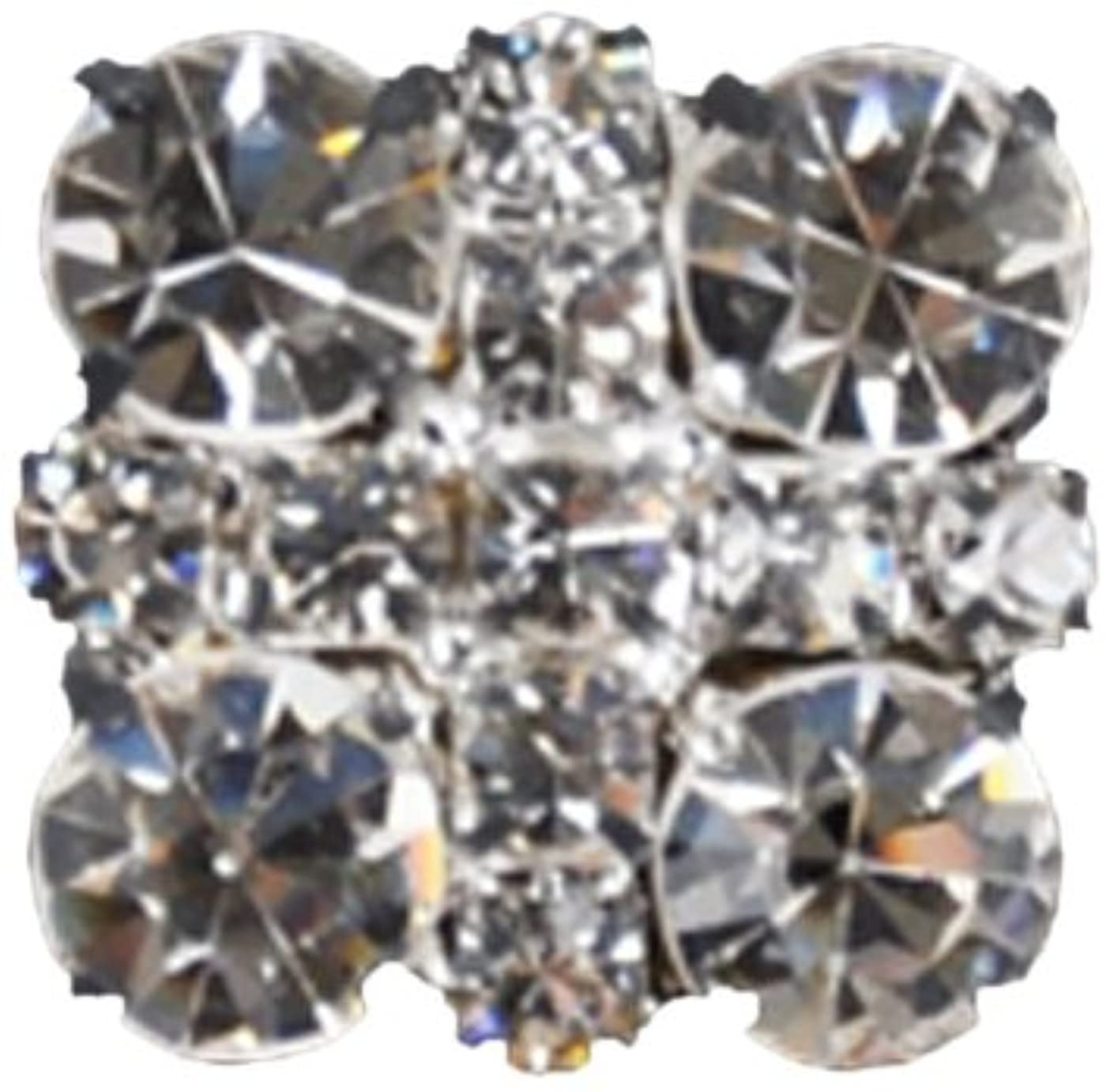 Rhinestone Button BRB-114, 3/4-Inch Silver Resin Base Button, Each Carded