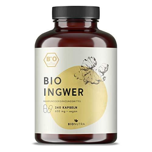 BIONUTRA® Ingwer-Kapseln Bio (240 x600 mg), deutsche Herstellung, Großpackung, hochdosiert, vegan, biologische Rohstoffe ohne Zusätze