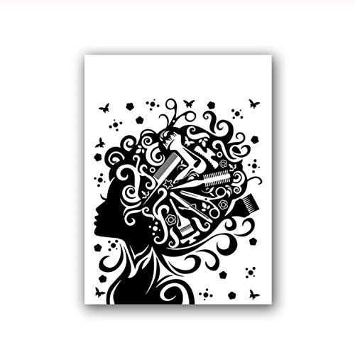 kldfig kapsel salon schoonheid canvas poster schaar kam vrouwelijk mode muurkunst druk schilderij decoratie afbeelding kapper geschenk-40 * 50 cm niet ingelijst