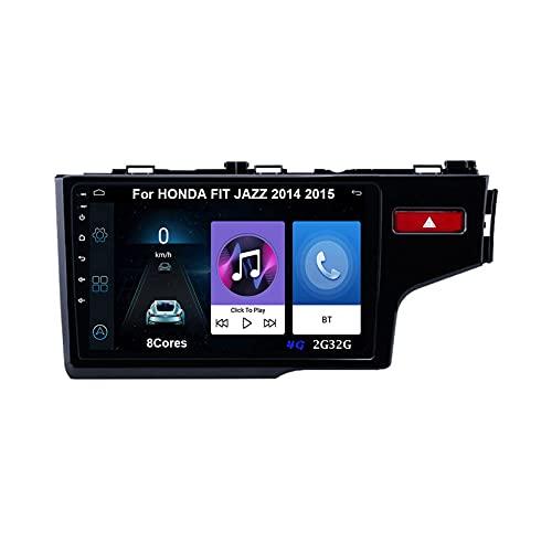 Autoradio GPS Navigazione Music 9 Pollici HD Touch Multimedia Per HONDA FIT JAZZ 2014 2015 Collega E Usa Bluetooth Vivavoce Controllo Del Volante Telecamera Posteriore (Color : A 8Cores 4G 2G32G)