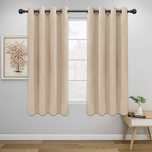 Easy-Going Blackout Curtains for Bedroom, Solid Thermal Insulated Grommet and Noise Reduction Window Drapes, Room Darkening Curtains for Living Room, 2 Panels(52x63 in,Beige)