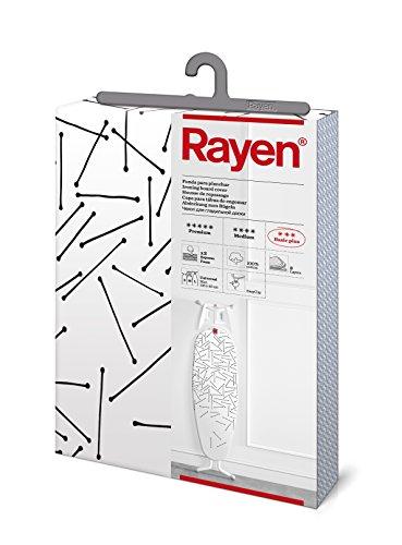 Rayen 6275.05 - Funda para Tabla de Planchar, Algodón, color Blanco con Rayas Finas, 130 x 47 cm