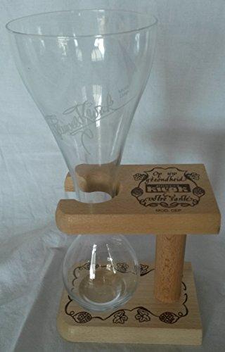 Original Pauwels Kwak Bierglas 25 cl mit Holzständer Glas belgisches Bier