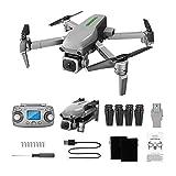 Kingko Drone avec Camera, L109 GPS 5G WiFi FPV Mini Drone 4K Pixels, WiFi-FPV Temps Réel, Drone avec Camera GPS,pour Les Débutants &Les Enfants Pliant Drone (Gris)