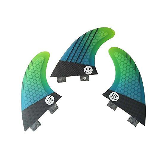 UPSURF Tabla de Surf FCS 3Aletas Fibra de Vidrio Aletas de Surf Tener Panal Thruster Set (Cyan G5)
