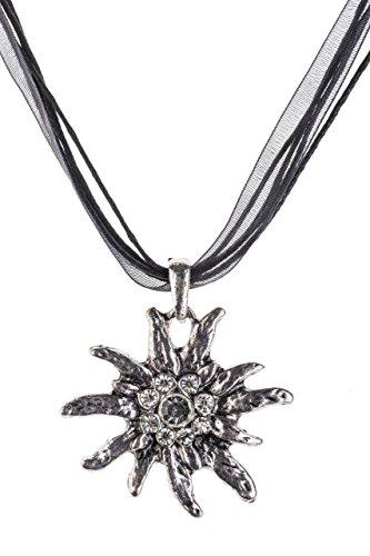 Trachtenkette Edelweiss Trachtenschmuck - Trachten Kette mit feinem Strass in div. Farben - Halskette für Dirndl und Lederhosen (Schwarz)