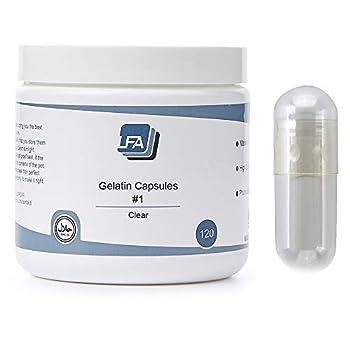 LFA Size 1 Empty Capsules - Clear Gelatin - 120 Count Jar - Easy Snap Fillable Beef Gel Caps for DIY Powder Supplement Pills - Halal - Fits Filling Machine - Medium Pure Gelatin Capsule