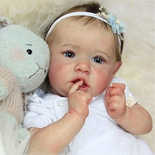 Realistisch Saskia Reborn Babypuppen Graue Augen Mädchen Wiedergeboren Baby Puppe Weiches Vollsilikon Lebensecht Puppen Pflegen Leicht Waschbar Spielzeug Für Kinder