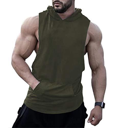 URRU Mens Sleeveless Muscle Hoodie Bodybuilding Vest Jacket Gym Army Green XXL