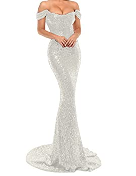 YSMei Women s Off Shoulder Mermaid Sequins Evening Dress Long Prom Gowns 4 Style A1- Silver