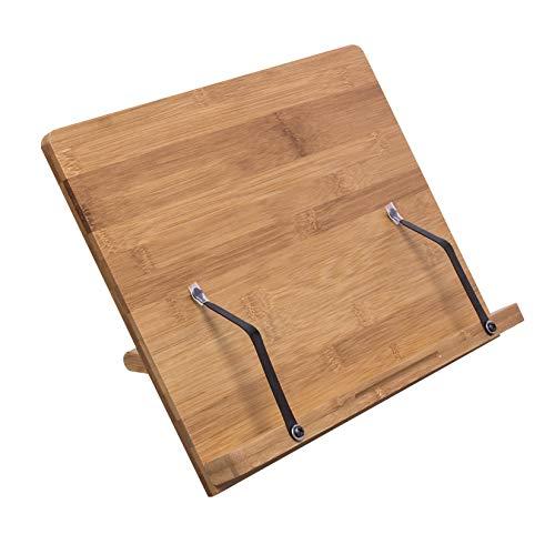 woodluv Rezept-Kochbuchständer aus Bambus, zusammenklappbar, Halter mit einstellbarer Höhe für Bücher, Dokumente, iPads, Tablets oder Smartphones