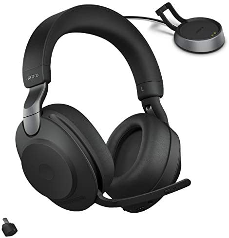 Jabra Evolve2 85 UC Wireless Headphones with Link380c & Charging Stand, Stereo, Black – Wireless Bluetooth Headset for Calls and Music, 37 Hours of Battery Life, Advanced Noise Cancelling Headphones