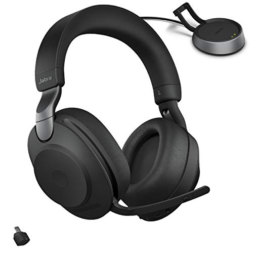 Jabra Evolve2 85 UC Wireless Headphones with Link380c & Charging Stand, Stereo, Black – Wireless...
