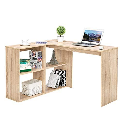 Coavas Corner Computer Desk L Shaped Desk with 4 Shelves 47 inch Home Study Desk Office Writing Workstation Gaming Table for Bedroom, Oak White
