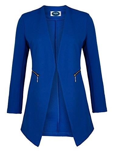 4tuality AO Long Blazer kragenlos mit Zipper Royalblau Gr. XL