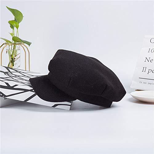 geiqianjiumai Women's wollen militaire pet nieuwe pet mannen platte top achthoekige cap monochroom - zwart M (56-58cm)