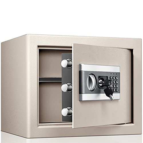 DJRJFFY Security Safe Cash Box,Jewelry Passport, Small Digital Safe, Steel Construction, Steel Locking Bolts, Emergency Override Key, Wall and Floor Fixings, Height 300*Width 370*Depth 310mm