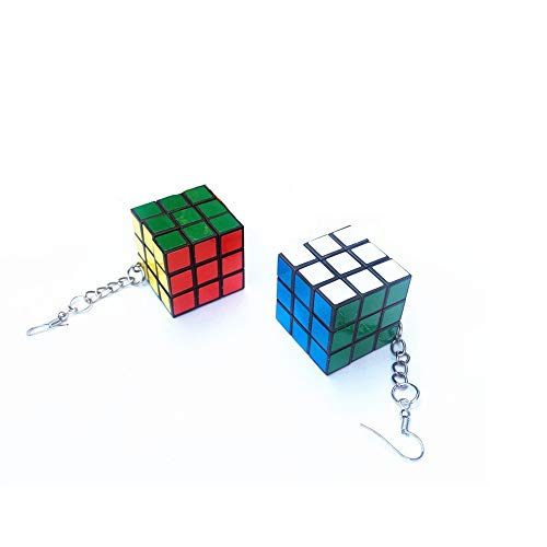 Cute Real Magic Cube Dangle Earrings Puzzle Cube Can Play Creative Cartoon Funny Earrrings for Women Girls