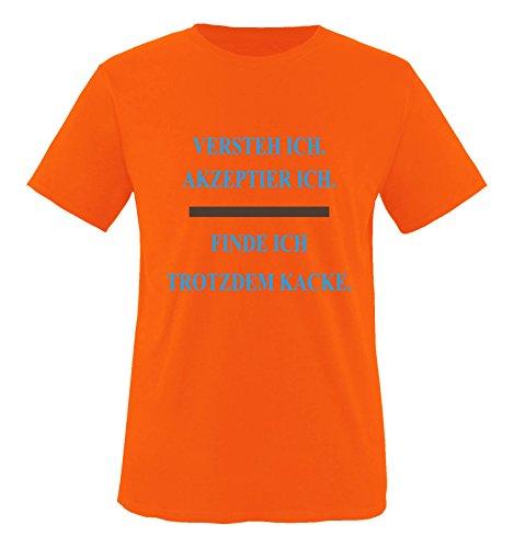 Comedy Shirts - Versteh ich. Akzeptier ich. Finde ich trotzdem Kacke. - Herren T-Shirt - Orange/Blau-Braun Gr. XL