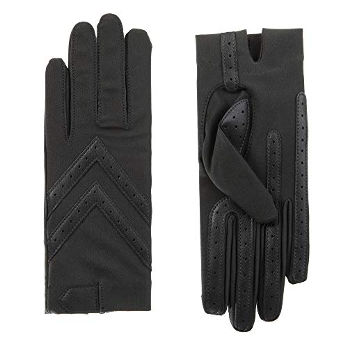 isotoner Women's Spandex Stretch Shortie Cold Weather Gloves with Leather Palms and Chevron Details, smartDRI Charcoal, Large/X-Large