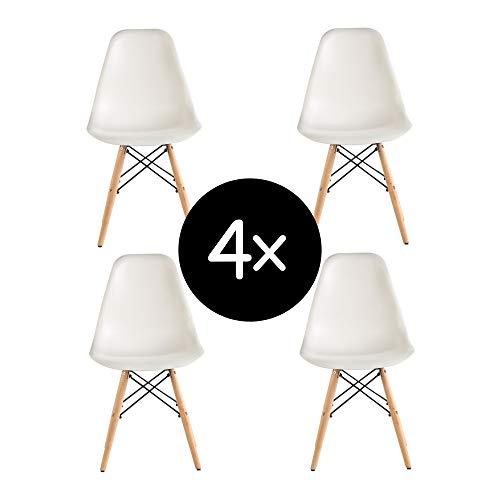 Krok Wood 4-er Set Dominik Esszimmerstuhl Wohnzimmerstuhl Bürostuhl, Kunststoff Stühl (Weiß)