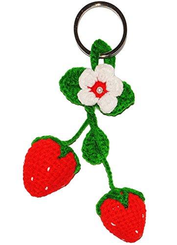 alles-meine.de GmbH 1 Stück _  süße Erdbeeren & Blüte  - Schlüsselanhänger & Anhänger / - echte Handarbeit - für Kinder / Erwachsene - Hänger - Erdbeeren & Früchte - Obst - ERD..