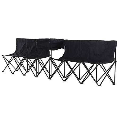 Outsunny Campingbank mit Tragetasche, 6-Sitzer Faltbank, Ersatzbank, Klappbank, Camping, Oxford, Schwarz, 306 x 48 x 82 cm