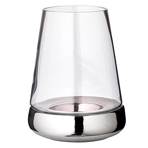 EDZARD Windlicht Kerzenglas Bora mit glattem Fuß, Glas und Keramik, Höhe 28 cm, Durchmesser 18 cm