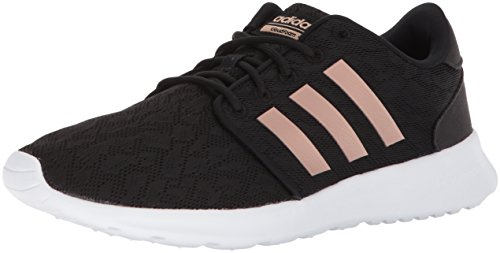 adidas womens CloudfoamQt Racer Sneaker, Black/Copper Metallic/White, 10 US