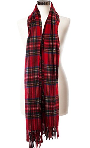 I Luv Ltd Cashmere Stole In Stewart Royal Tartan Design 71cm Wide