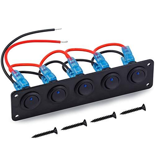 WEKON 5 Gang Wasserdicht Wippschalter Panel 12-24V Blau LED Kippschalter Panel Schalttafel Ein/Aus-Schalter für Auto Marine Boot SUV LKW Yacht RV