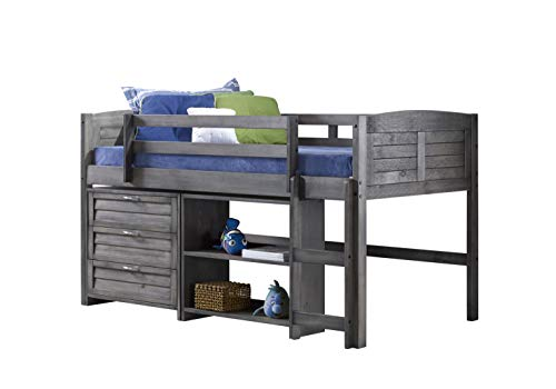 Donco Kids Louver Modular Low Loft Bed Combo C, Twin, Antique Grey