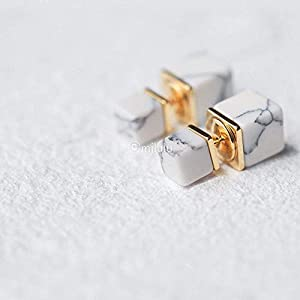 Minimalist White Howlite Geometric Square Double Sided Front and Back Stud Earrings