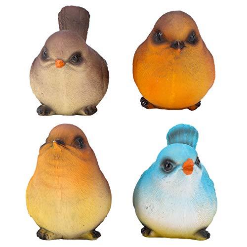 Doitool 4 Piezas de Resina Pájaros Pequeños Pájaros Cantores Figuras en Colores...