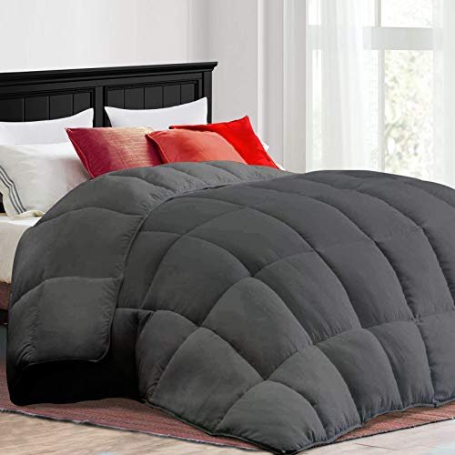 COONP All Season Queen Comforter Soft Quilted Duvet Insert with Corner Tabs, Filled with 3D Snow Down Alternative,Winter Warm,Machine Washable-88 x 88 Inches,Grey
