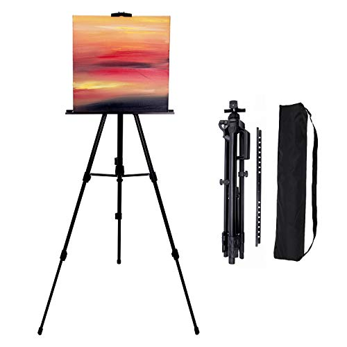 Painting easels 66-inch art tripod stand for painting adjustable floor easels canvas stand for painting,tripod poster holder displaying,travel case,black