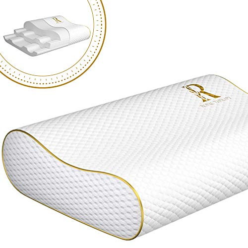 Royal Therapy Queen Memory Foam Pillow, Neck Pillow Bamboo Adjustable Side Sleeper Pillow for Neck & Shoulder, Support for Back, Stomach, Side Sleepers, Orthopedic Contour