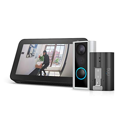 Ring Peephole Cam with Rechargeable Battery Pack and Echo Show 5