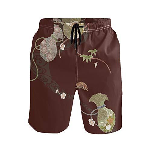 DEZIRO Patrón de estilo japonés de los hombres traje de baño pantalones de playa de secado rápido
