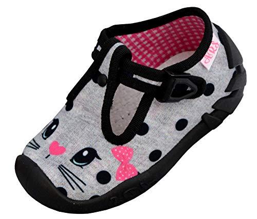 ARS Botas para Niñas Zapatillas Estar por casa per Nina Zapatos Bebe Niña Plantilla de Cuero Primeros Pasos 20 21 22 23 24 25 (21 EU, Gato - Gris)