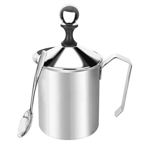 Montalatte Manuale, 400ml, SUS304, Pompa a Mano in Acciaio Inox per Cappuccini e Caffè Latte - Cucchiaio GRATUITO
