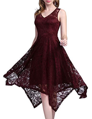 Meetjen Damen Elegant Spitzenkleid V-Ausschnitt Unregelmässiger Asymmetrischer Saum Festliches Kleid Cocktail Abendkleid Burgundy S