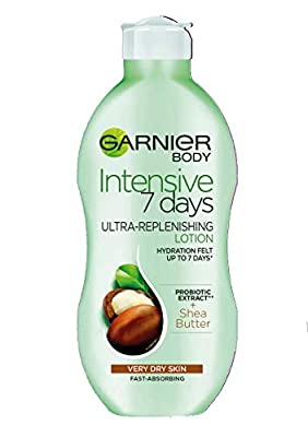 Garnier Intensive 7 Days Shea Butter & Probiotic Extract Body Lotion 400ml, Ultra Replenishing Soothing Moisturiser, Up to 7 Days Hydration, For Very Dry Skin, Fast Absorbing & Non Greasy from Loreal