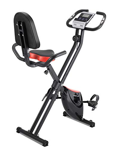 iDeer Life Magnetic Foldable Exercise Bike, Cardio Workout Indoor Cycling Folding X Bike with Hand Pulse Sensor, LCD Display, Large Backrest, Comfy Seat and Handles, Stationary Upright Recumbent Bike