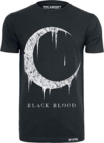 Black Blood Blood Moon Homme T-Shirt Manches Courtes Noir L, 100% Coton, Regular/Coupe Standard